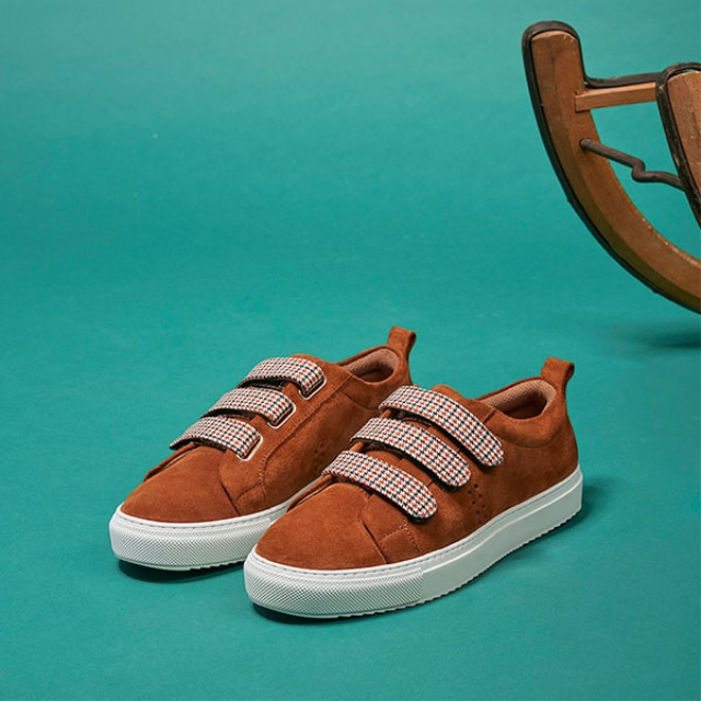 [Recycle] Womens BRIGITTE SCRATCH Suede Cognac Sneakers