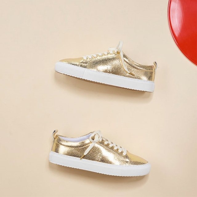 [Recycle] Womens BRIGITTE Crack Gold Sneakers