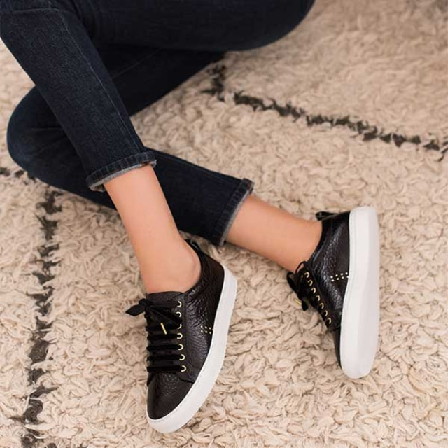 Womens BRIGITTE Croco Black Sneakers