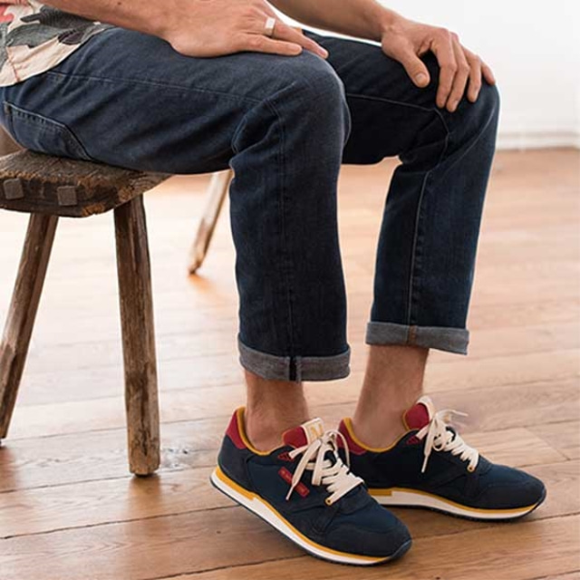 Mens ANDRE Suede Navy Red Sneakers