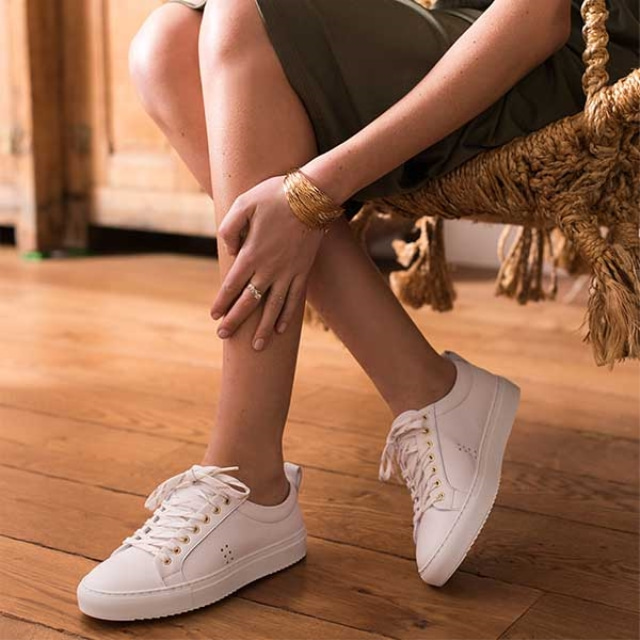 Womens BRIGITTE Leather White Sneakers