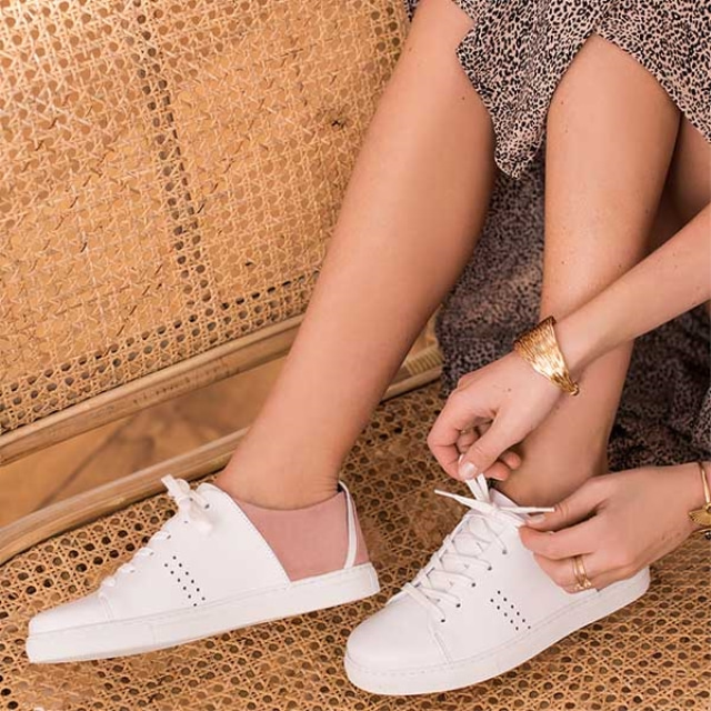 Womens RENEE Suede Nude Sneakers