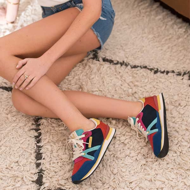 Womens ANDREE Blue Suede Red Sneakers