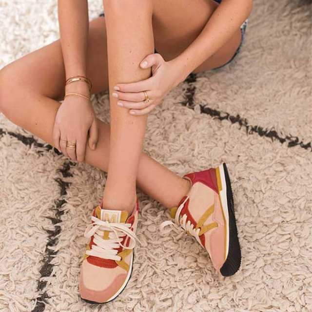 Womens ANDREE Nude Suede Orange Sneakers