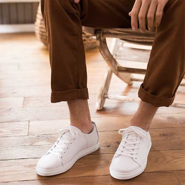 Mens RENE Perforated White Sneakers