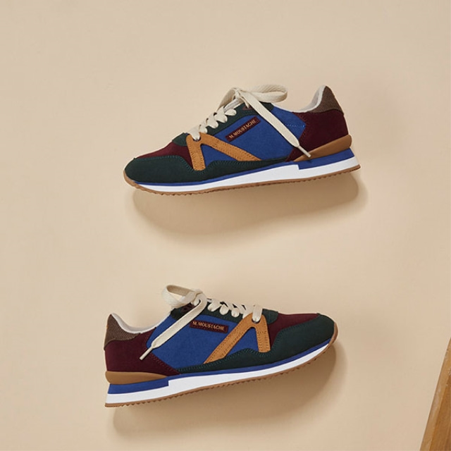 Womens ANDREE Blue Suede Burgundy Sneakers