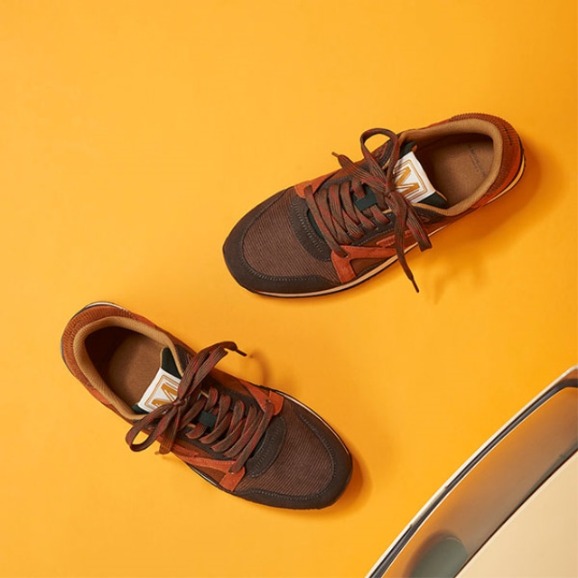 Mens ANDRE Suede Brown Cognac Sneakers