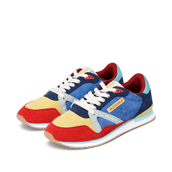 Mens ANDRE Suede Red Yellow Sneakers