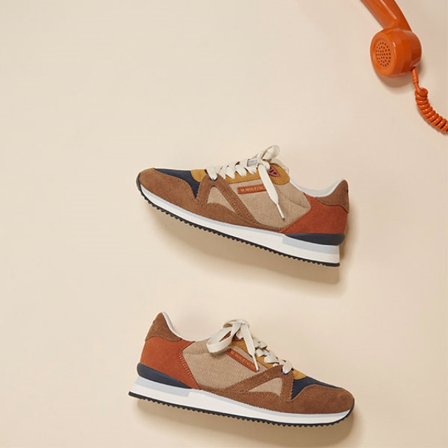 Womens ANDREE Corduroy Beige Brown Sneakers