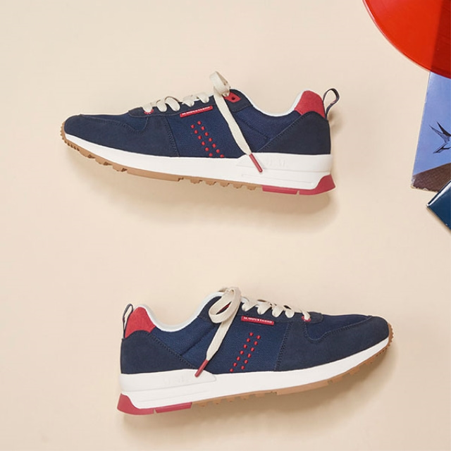 Mens DANIEL Navy Red Sneakers